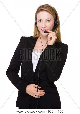 Caucasian businesswoman with headset for customer services