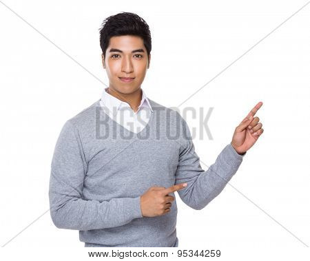 Indian businessman with two finger point up