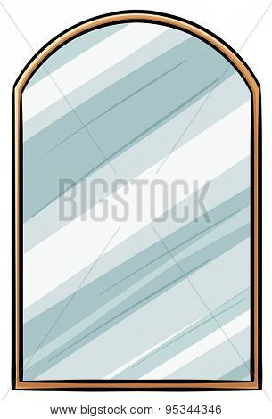 Mirror illustration with wooden frame