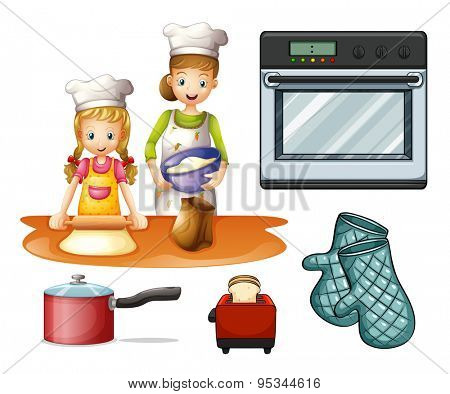 Mother and daughter cooking and baking