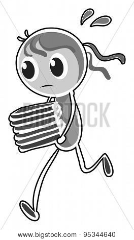 Girl with many books running with sweat