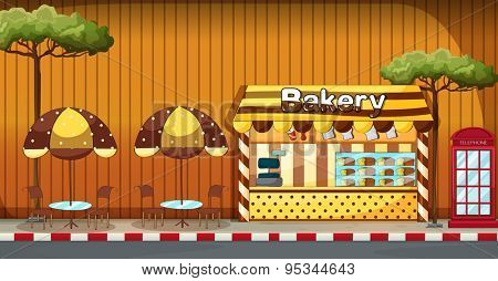 Bakery shop with outdoor tables and chairs