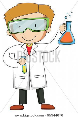 Male scientist wearing goggles and gown