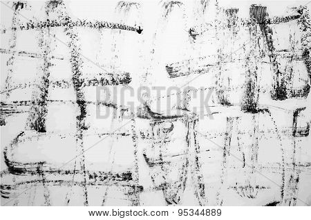 Strokes Of Black Ink On A White Background