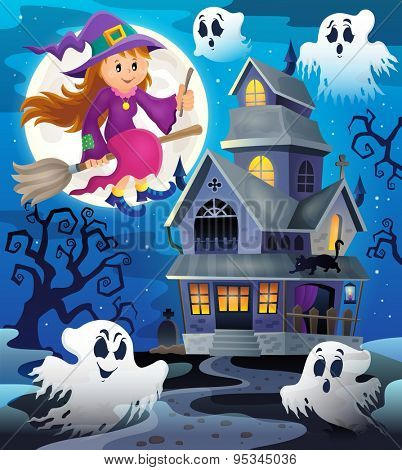 Image with haunted house thematics 8 - eps10 vector illustration.