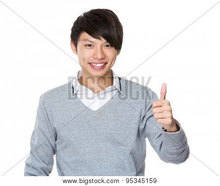 Asian Businessman with thumb up gesture