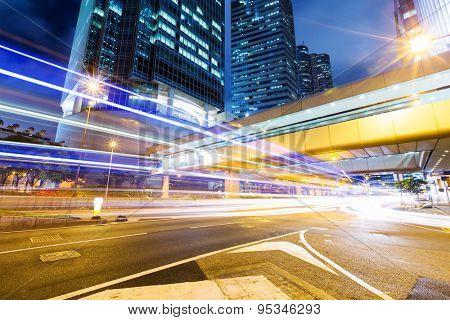 Traffic city night at hongkong