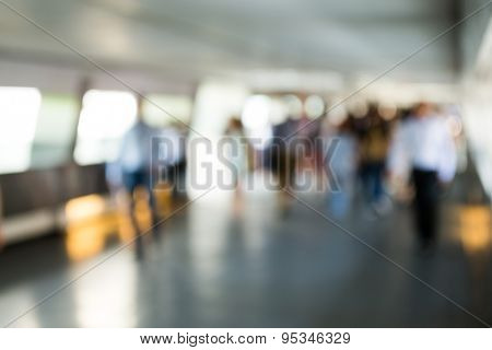 Blur background of pedestrian in footbridge