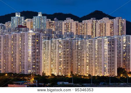 Hign density residential buildings in Hong Kong at night