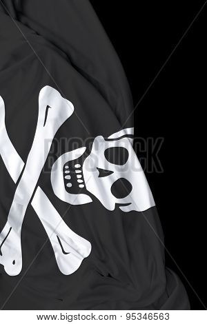 Pirate waving flag on black background