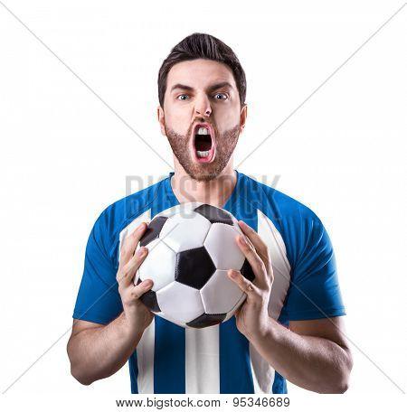 Fan on blue and white uniform celebrates on white background