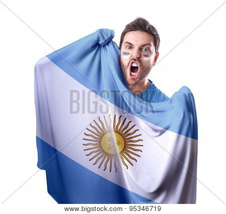 Fan holding the flag of Argentina on white background