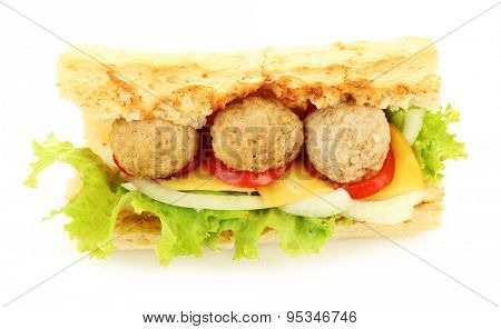 Homemade Spicy Meatball Sub Sandwich isolated on white