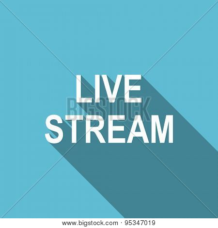 live stream flat icon  original modern design flat icon for web and mobile app with long shadow