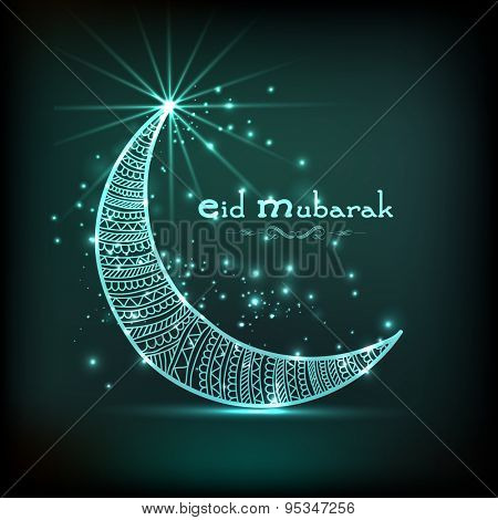 Floral decorated shiny crescent moon for muslim community festival, Eid Mubarak celebration, can be used as greeting card or invitation card.
