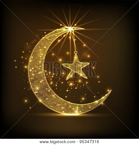 Beautiful golden crescent moon with hanging star on shiny brown background for famous Islamic festival, Eid celebration.