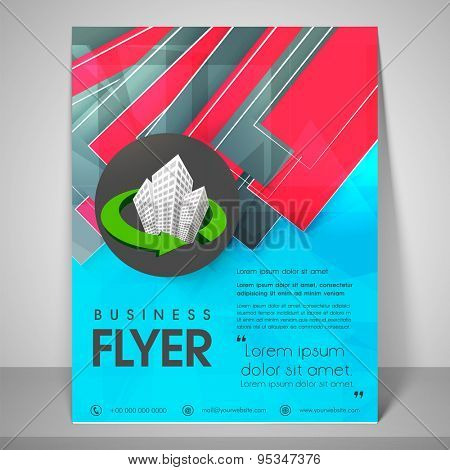 Abstract flyer design for business with complex images, address bar, place holder and mailer.