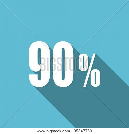 90 percent flat icon sale sign original modern design flat icon for web and mobile app with long shadow