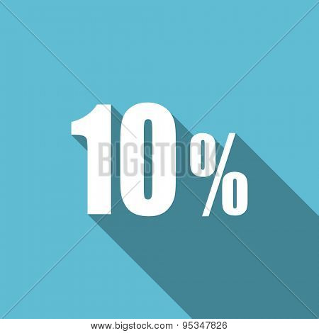 10 percent flat icon sale sign original modern design flat icon for web and mobile app with long shadow