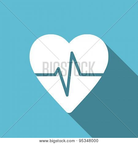 pulse flat icon heart rate sign original modern design flat icon for web and mobile app with long shadow
