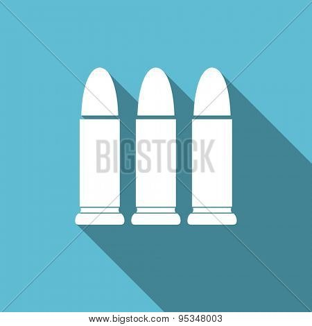 ammunition flat icon weapoon sign original modern design flat icon for web and mobile app with long shadow