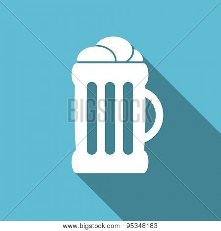 beer flat icon mug sign original modern design flat icon for web and mobile app with long shadow
