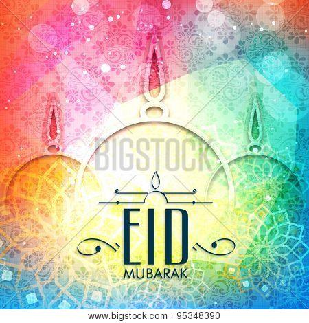 Stylish mosque on floral design decorated colorful background, Elegant greeting card for holy festival of Muslim community, Eid Mubarak celebration.