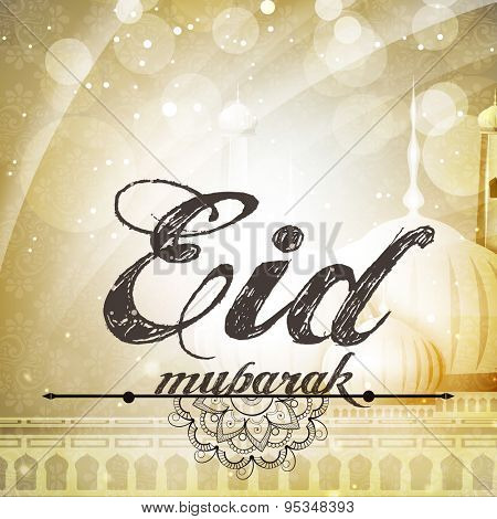 Stylish text Eid Mubarak on creative mosque, shiny floral design decorated background for Muslim community festival celebration.
