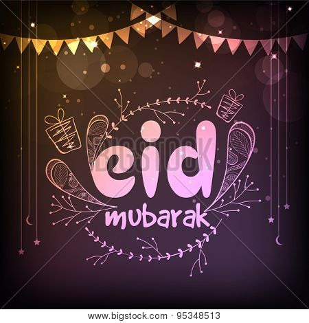 Glossy text Eid Mubarak on hanging stars and bunting decorated shiny colorful background for muslim community festival celebration.