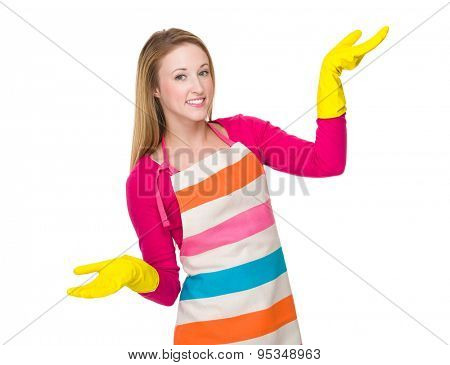 Caucasian woman using the rubber gloves on hand