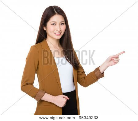 Businesswoman finger point aside for selling product