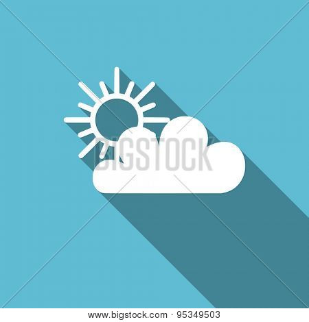 cloud flat icon waether forecast sign original modern design flat icon for web and mobile app with long shadow