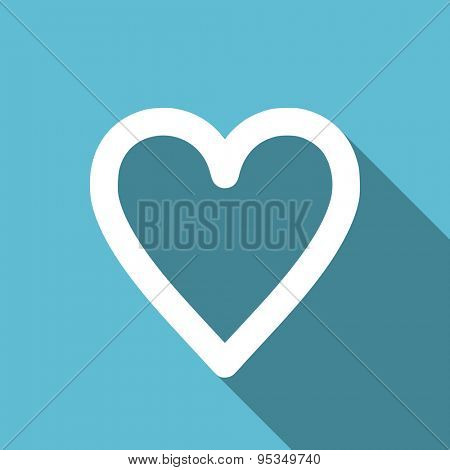 heart flat icon love sign original modern design flat icon for web and mobile app with long shadow
