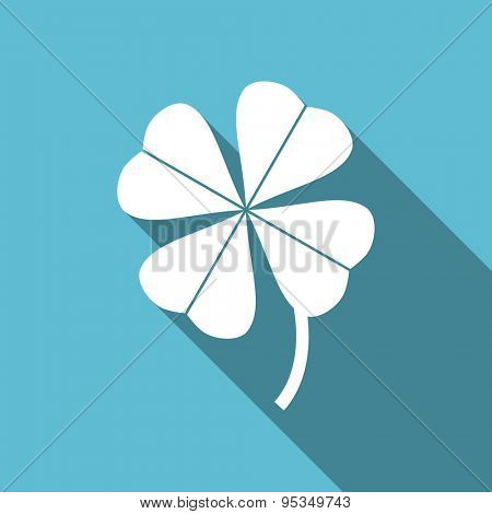 four-leaf clover flat icon  original modern design flat icon for web and mobile app with long shadow