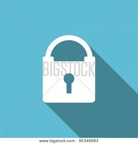 padlock flat icon secure sign original modern design flat icon for web and mobile app with long shadow