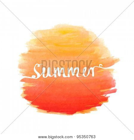 Hand-written word SUMMER over watercolor sun, lettering logo. Vector illustration