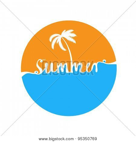 Hand-written word SUMMER, lettering. Vector illustration