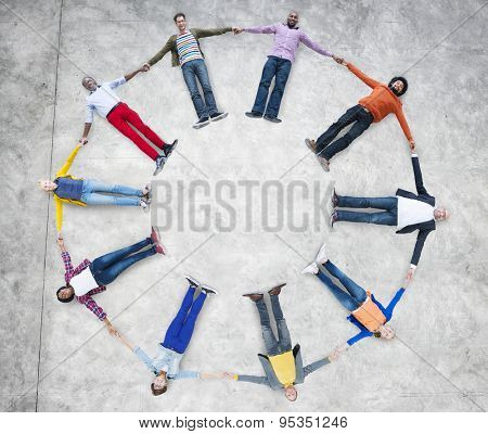 Aerial View of Multiethnic People Forming Circle and Globe Concept