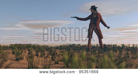 cowboy with gun in prairie