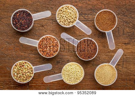 gluten free grains (quinoa, brown rice, kaniwa, amaranth, sorghum, millet, buckwheat, teff) - a set of measuring scoops on a rustic wood