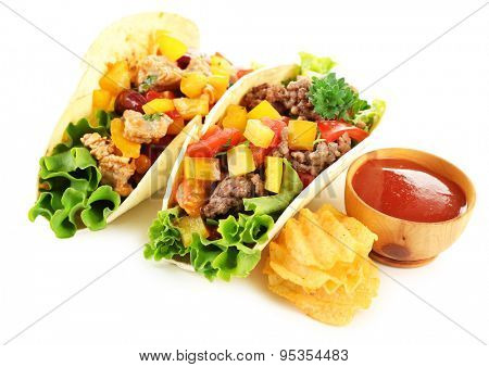Homemade beef burritos with vegetables and tortilla, isolated on white