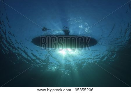 Surf Paddle Board silhouette from underwater