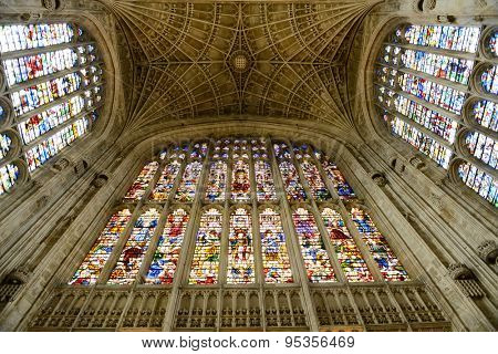 CAMBRIDGE, ENGLAND - MAY 13: Looking Up at Stained Glass and Vaulted Fan Ceiling, Kings College Chapel, University of Cambridge, England on May 13, 2015