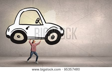 Young student girl lifting drawn car above head