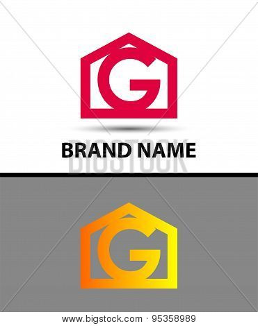 Letter g logo with home icon