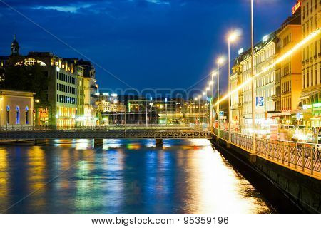 GENEVA, SWITZERLAND - SEP 15, 2014: Geneva downtown at night. Geneva is the second most populous city in Switzerland and is the most populous city of Romandy, the French-speaking part of Switzerland