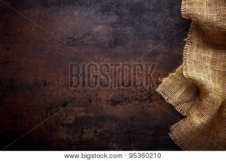 Burlap texture on table background