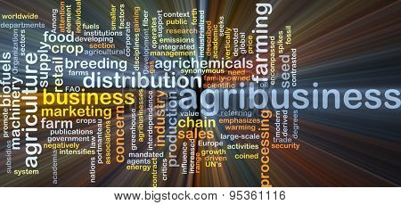 Background concept wordcloud illustration of agribusiness glowing light