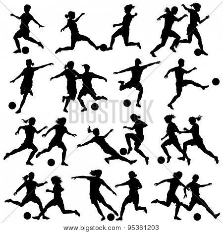 Set of illustrated silhouettes of women playing football