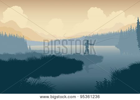 Illustration of an angler in a wild landscape
